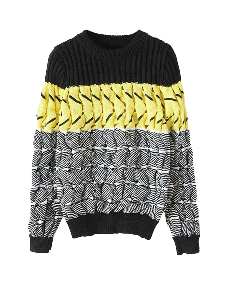 Mix-tone Texture-knit Slim Pullover Sweater