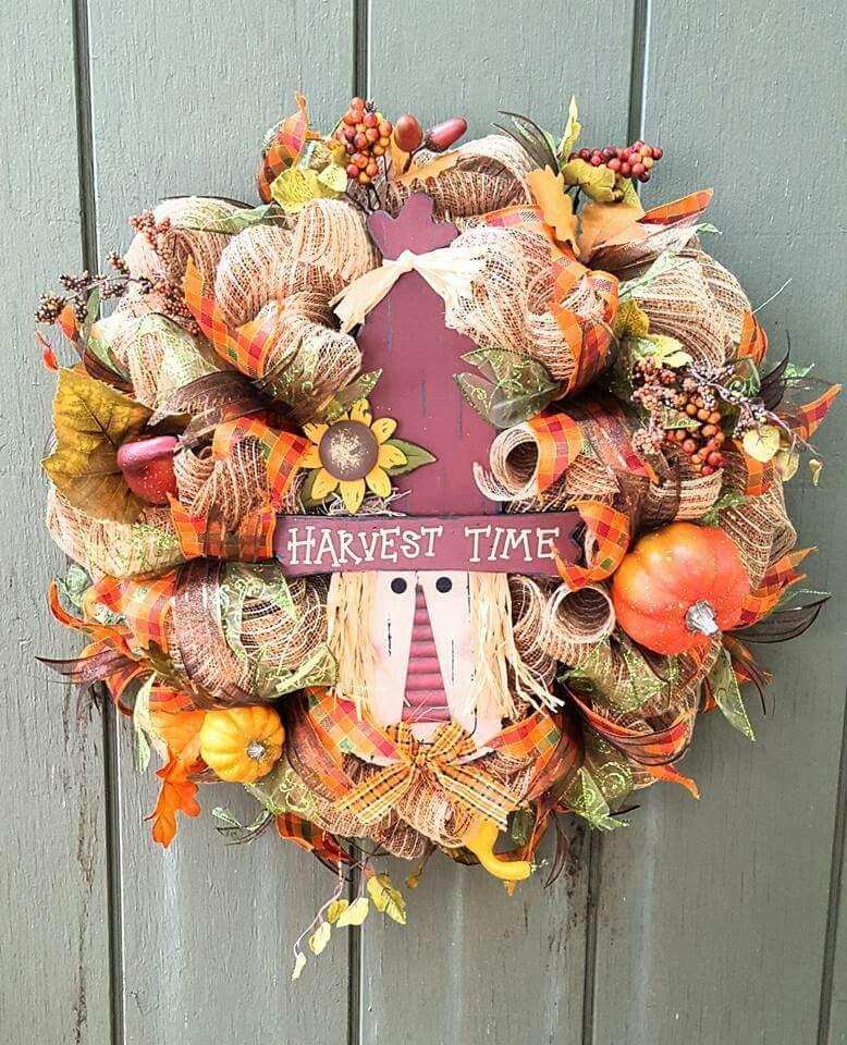 Deco mesh fall wreath. Happy fall y'all