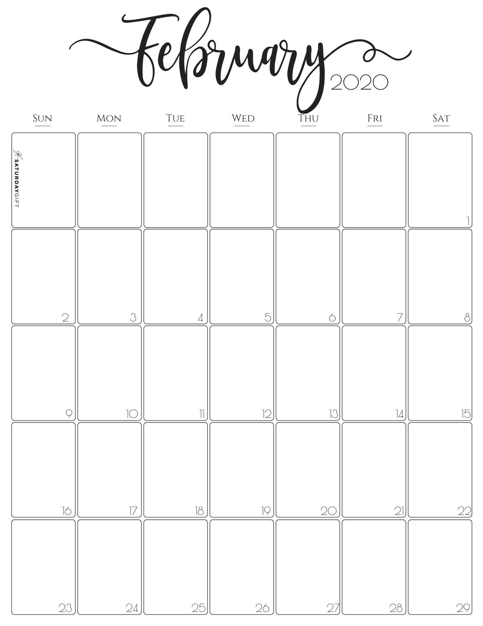 Vertical February 2020 Monthly Calendar Free And Pretty Printables In 2020 Vertical Calendar Monthly Calendar Monthly Calendar Printable
