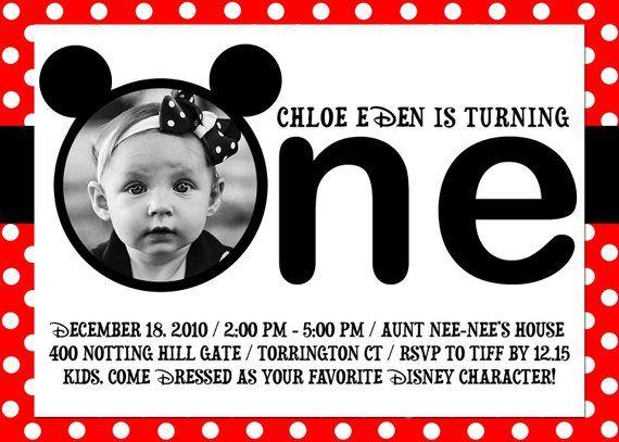 Disney Minnie Mouse Mickey 1st Birthday Invitation One Party DIGITAL INVITE
