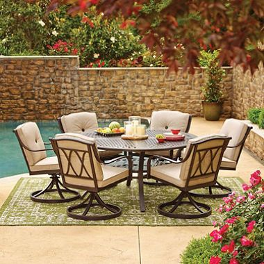 Members Mark Millers Creek Piece Round Dining Set With Sunbrella - 7 piece outdoor dining set round table