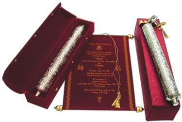 Perfect Royal Scroll For Wedding Invitation Maroon Velvet Used