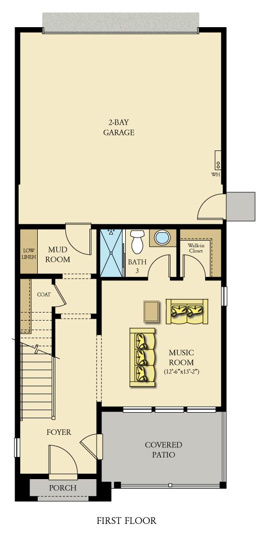 Waterstone plan 1 - 1st floor furnished view
