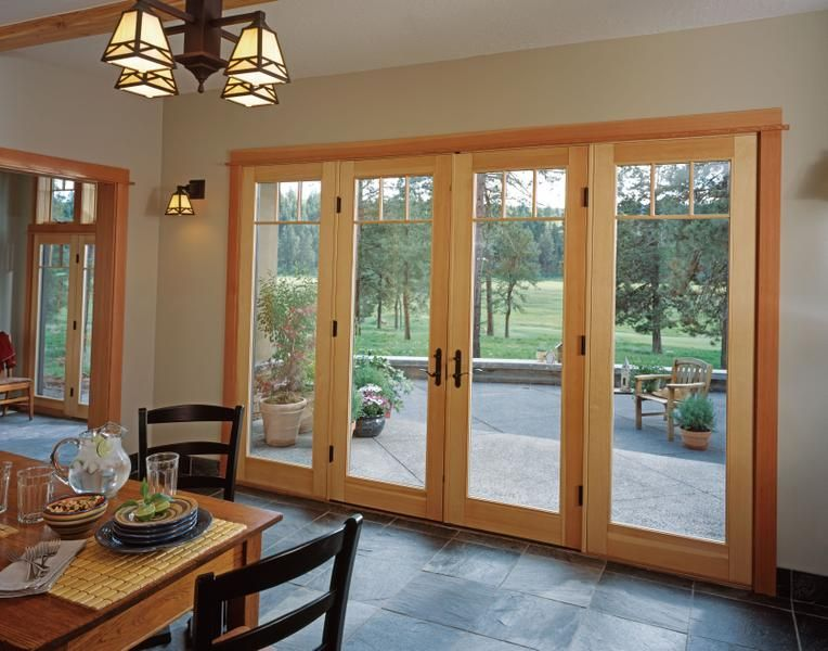 Jeld Wen Custom Alder Wood Swinging Patio Door Clear Finish Low E Glass