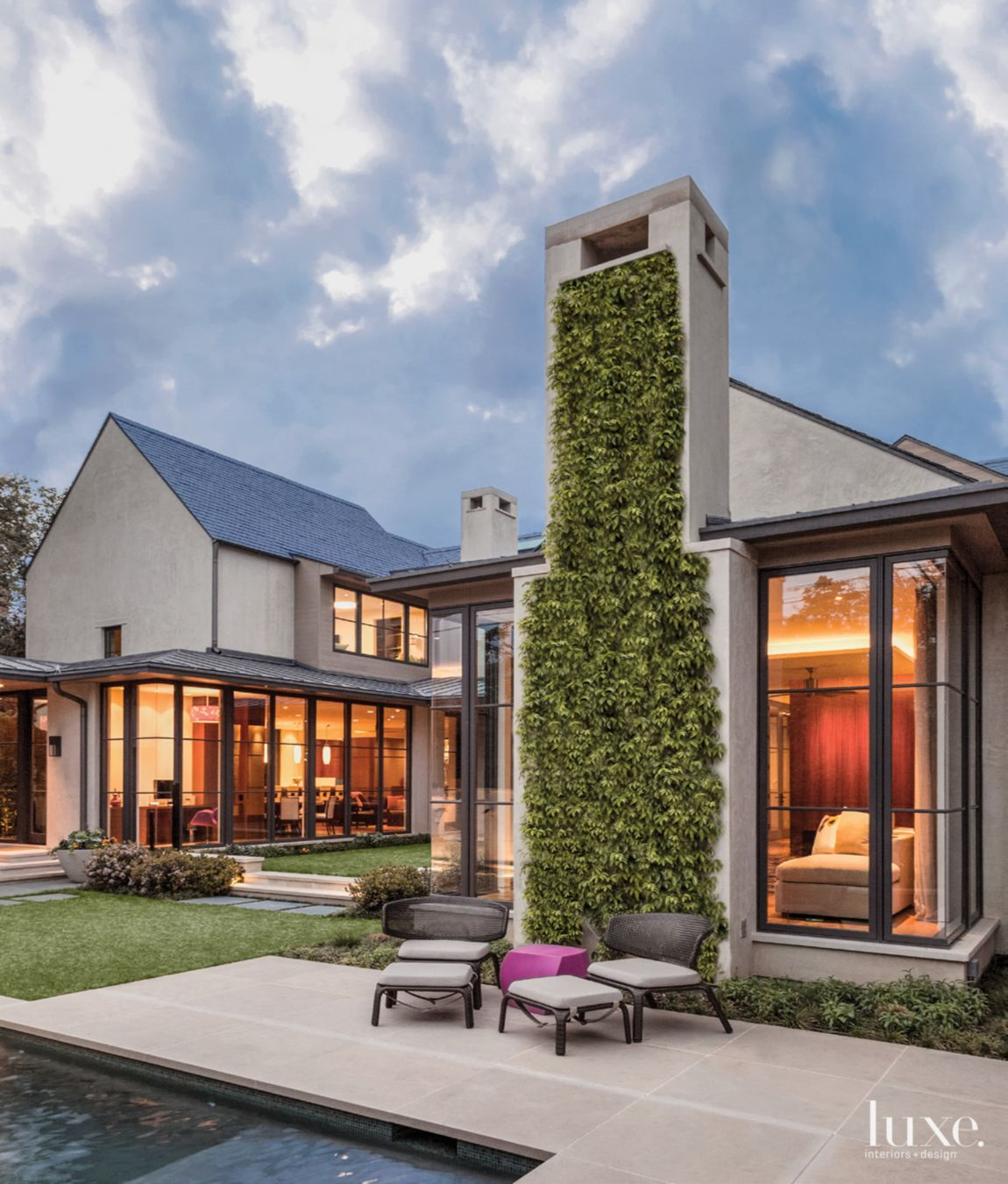 Exterior House Designs Exterior Modern With Concrete Patio: Smooth Troweled Cement Plaster And A Slate Roof Define The