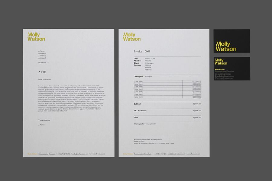 New logo for molly watson by studio blackburn bpo detail design logotype business card and headed paper with yellow foil detail designed by studio blackburn for colourmoves