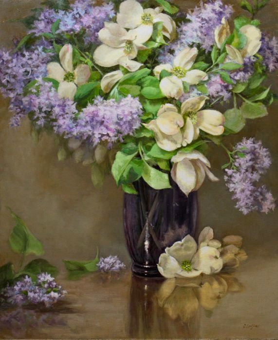 Lilacs And Dogwood Still Life Oil Painting Floral Purple Glass Vase Flower Painting Still Life Oil Painting Floral Painting