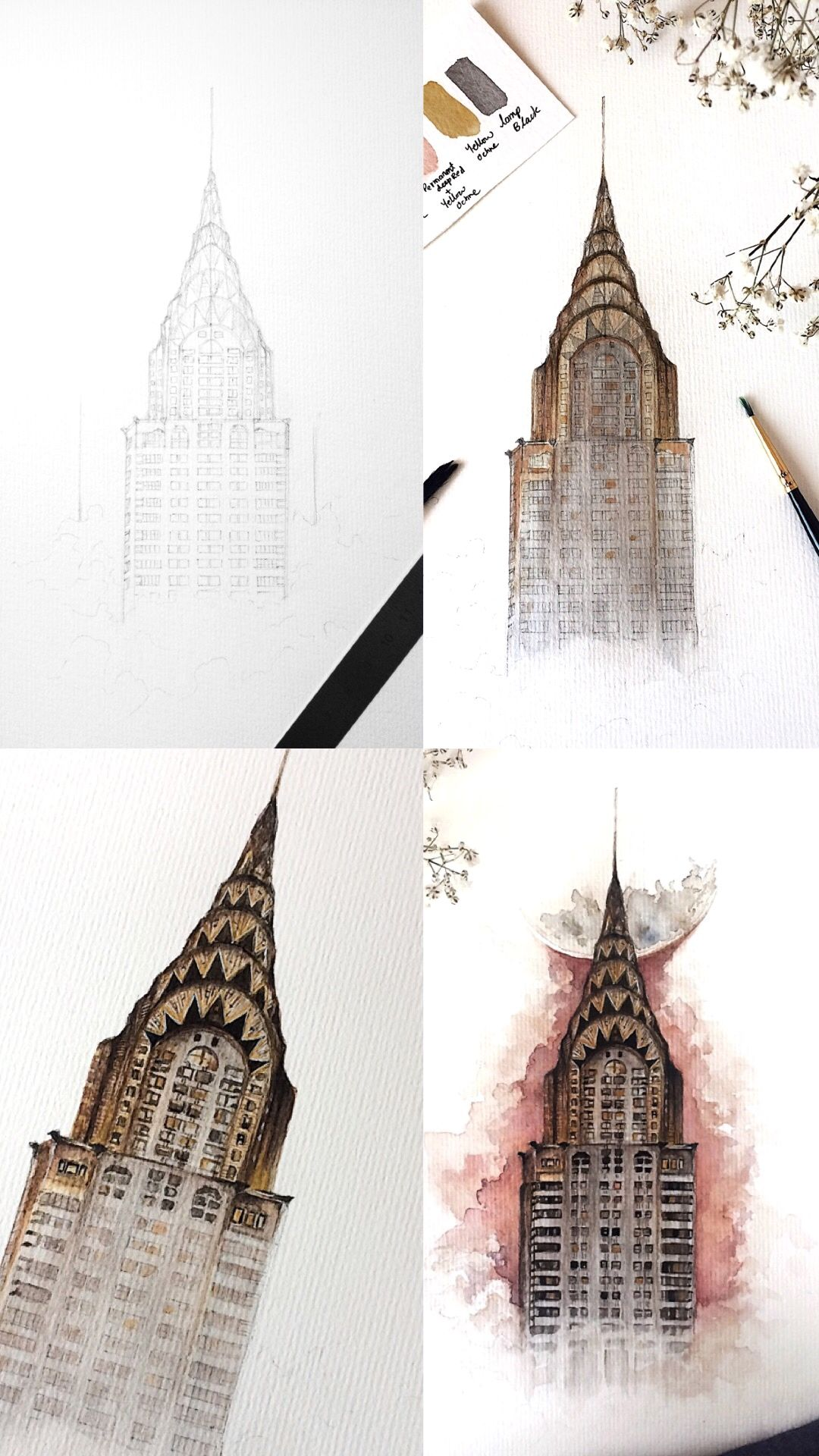 Chrysler Building Watercolor Painting Process Photos Tutorials