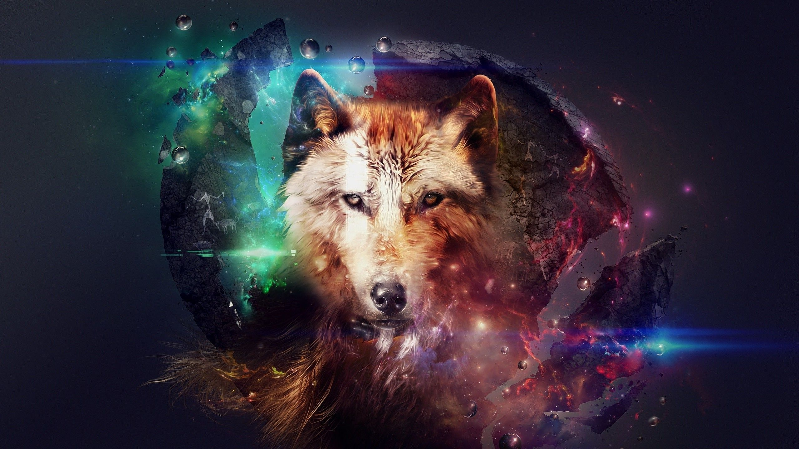 Artwork Wolf Planet Space Fire Stars Fantasy Art