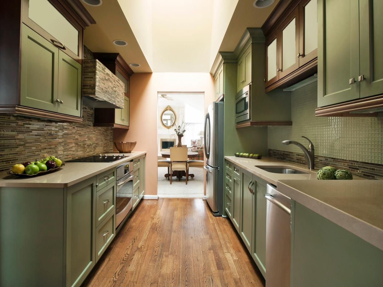 "Beautiful ""wide"" galley kitchen. Green with wood"
