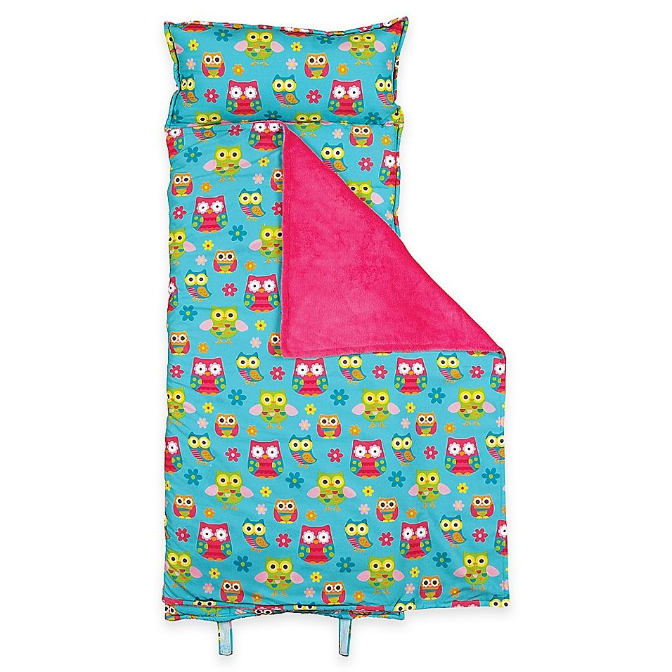 Stephen Joseph Allover Owl Print Nap Mat In Turquoise Pink