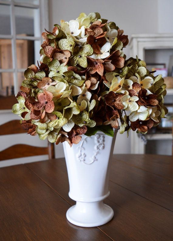 Artificial Flowers Artificial Hydrangea Flowers Coffee Brown Olive Green And Cream Colors Fake Flowers Faux Hydrangea Flower Artificial Hydrangea Flowers Artificial Hydrangeas Faux Hydrangea