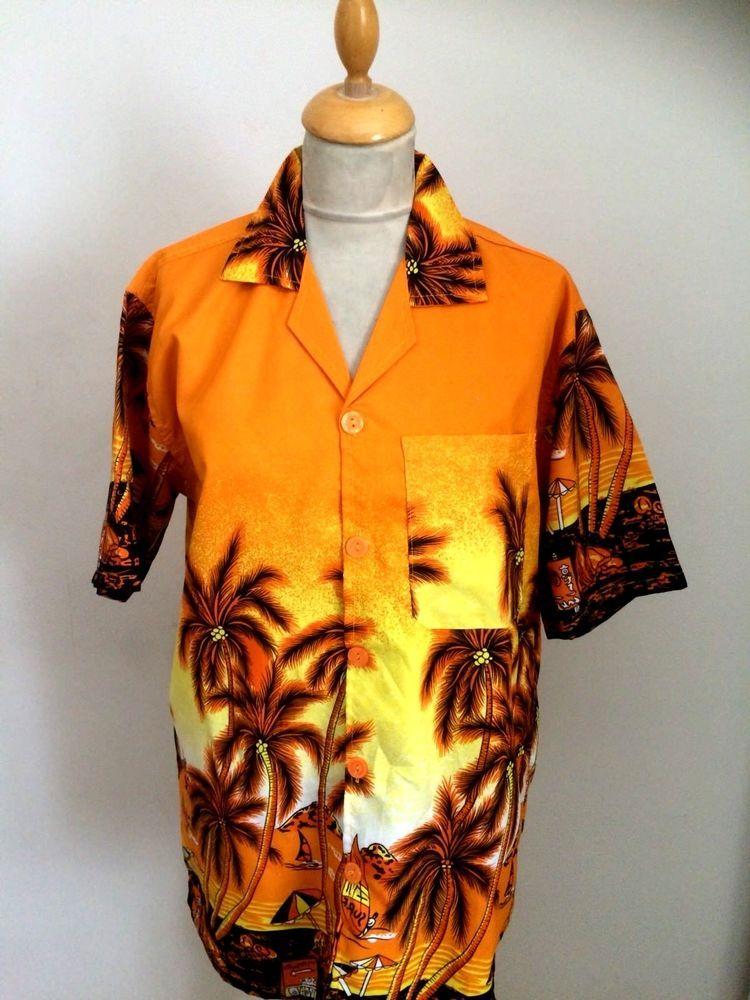 bc1c6cac 1940s 1950s style Rockabilly Hawaiian shirt Palm tree size M chest 42  #trueface #Hawaiian