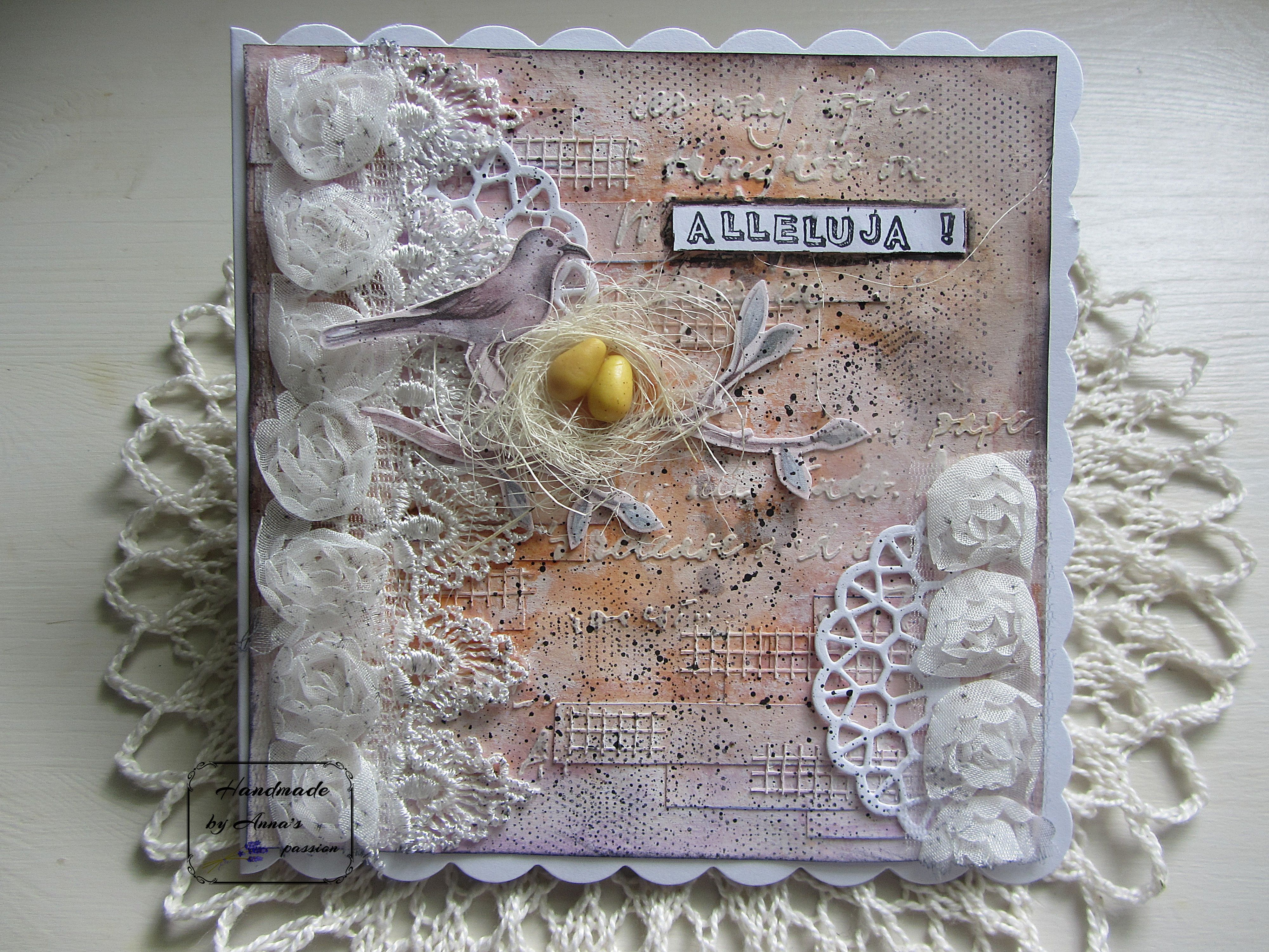 Mixed Media Easter card  Mediowa kartka Wielkanocna #handmade #card #mixedmedia #mixedmediaart #cardmaking #gesso #meshtape #texturepaste #tcw #thecraftersworkshop #tcwstencillove #lindysstampgang #lindys #lace #tackyglue #diecut #doily #fussycut #49andmarket #naturalsisal #fimo #eggs #archivalink #kaisercraft #kaiser #tinydottystamp #blackacrylicpaint #splashes #papermania #ministampset