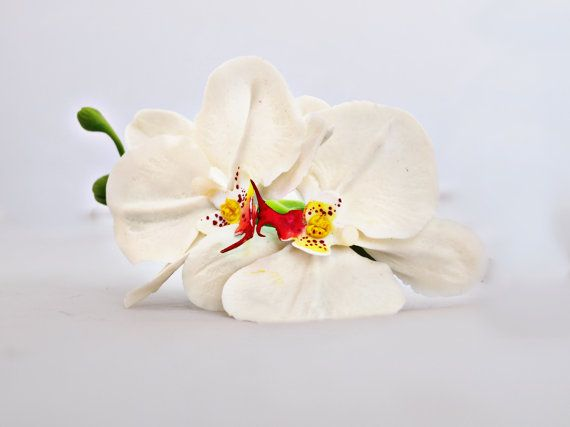Hair accessories, cold porcelain, accessory orchid, orchid wedding, orchid hair, barrette flower, accessory bride, bride orchid, flower clay