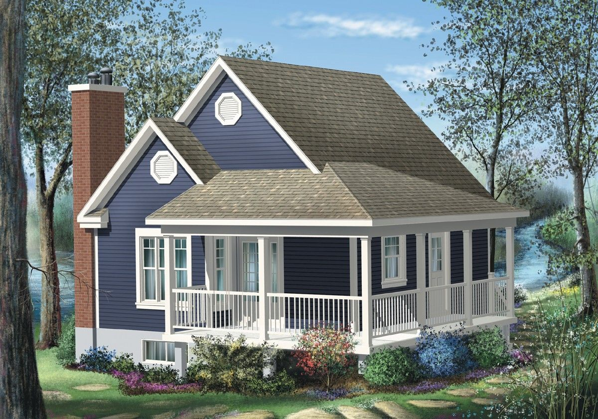 Plan 80555pm Simple One Bedroom Cottage Cottage Style House Plans Small Cottage House Plans Porch House Plans