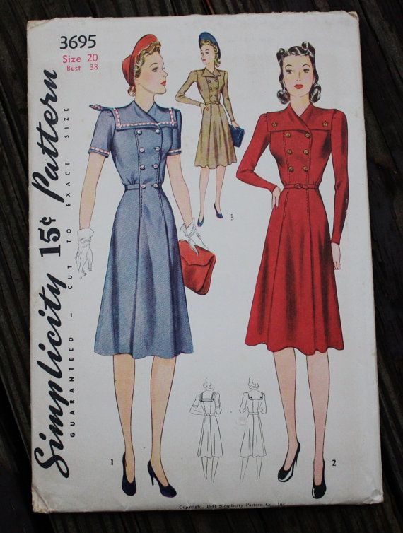 8ec5e6d23 Simplicity 3695 1940s 40s Double Breasted by EleanorMeriwether 1940 s  Fashion
