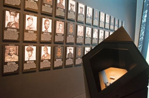 An inside look at the military section at the National Museum of African American History in Washington, D.C., on March 28, 2017. This is the Medal of Honor section. (MEREDITH TIBBETTS/STARS AND STRIPES)