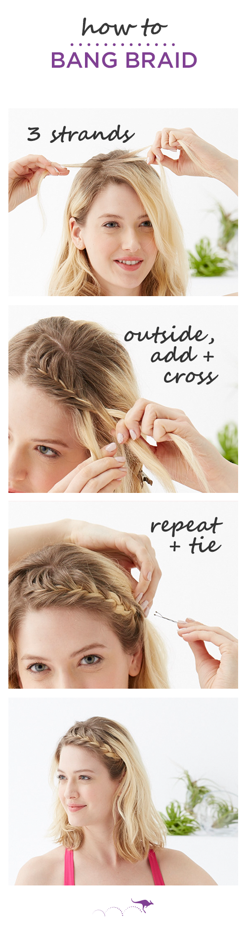 how to: bang braid | ideal for short hair or bangs, keep hair out of