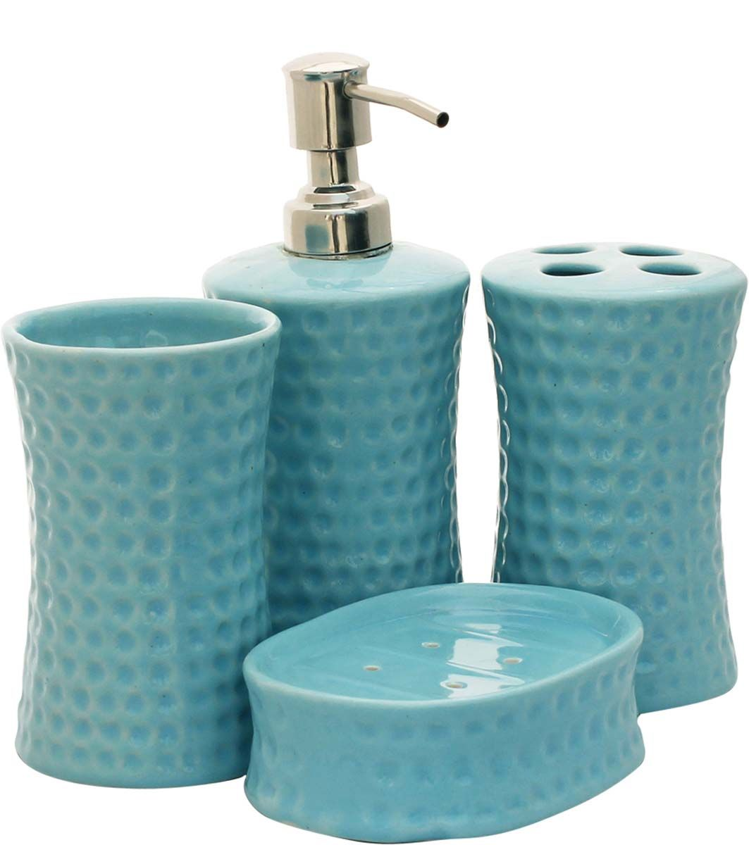 source bulk handmade set of 4 bathroom accessories in hammered textured blue color from wholesale distributors in indiadecorative soap dish tumbler