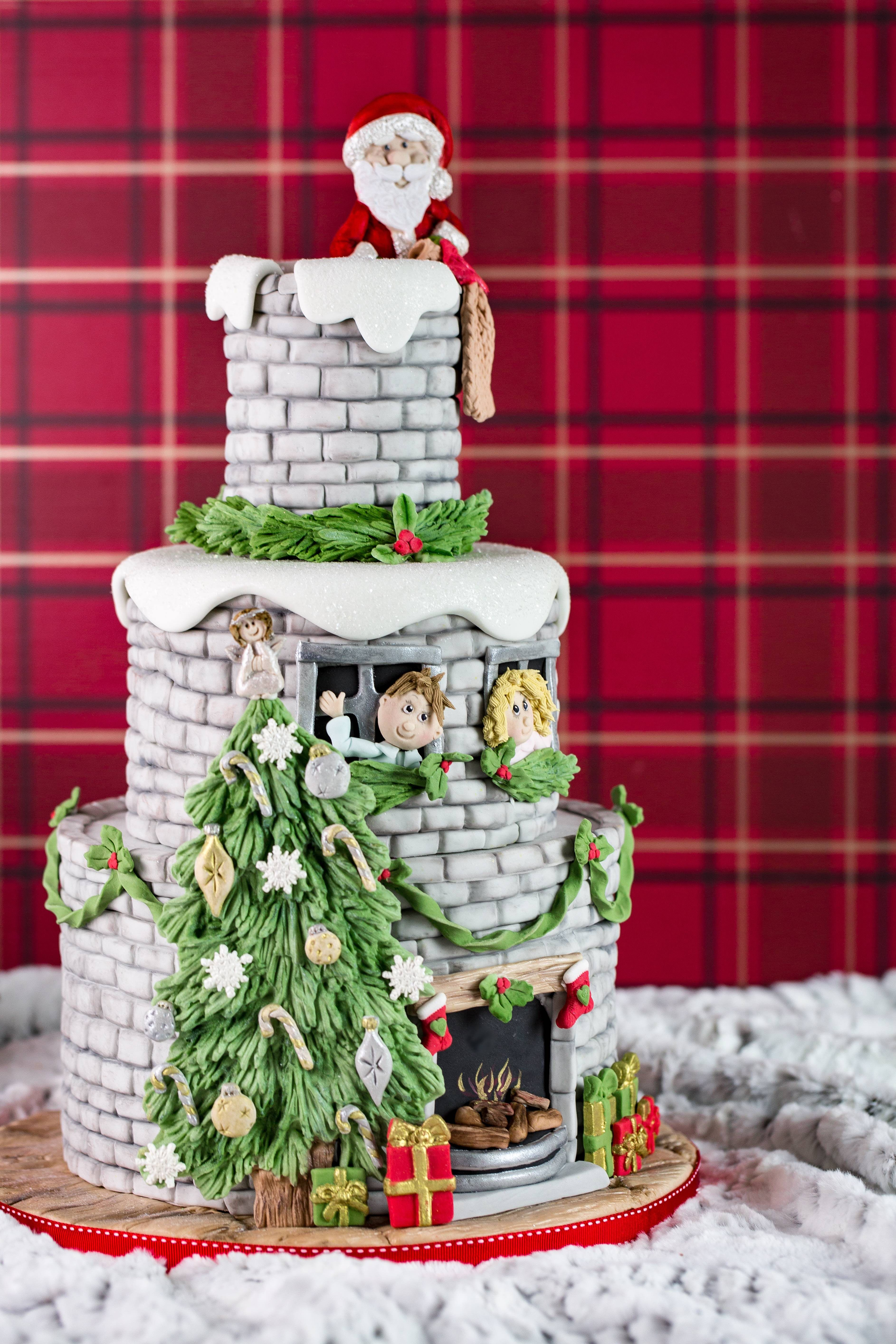 Amazing Christmas Cake by Karen Davies Sugarcraft. Rustic Brickwork ...