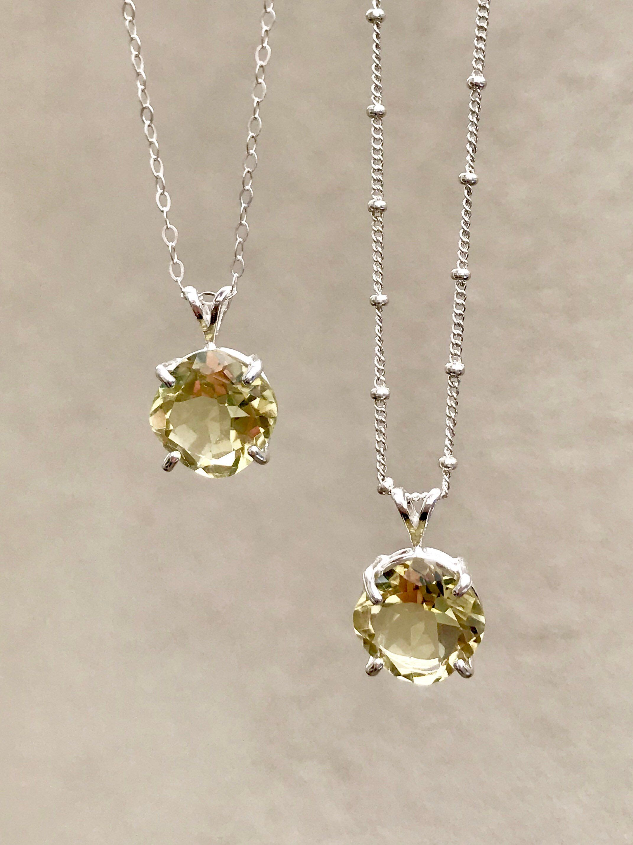 Yellow lemon quartz pendant necklace cushion cut gemstone jewelry