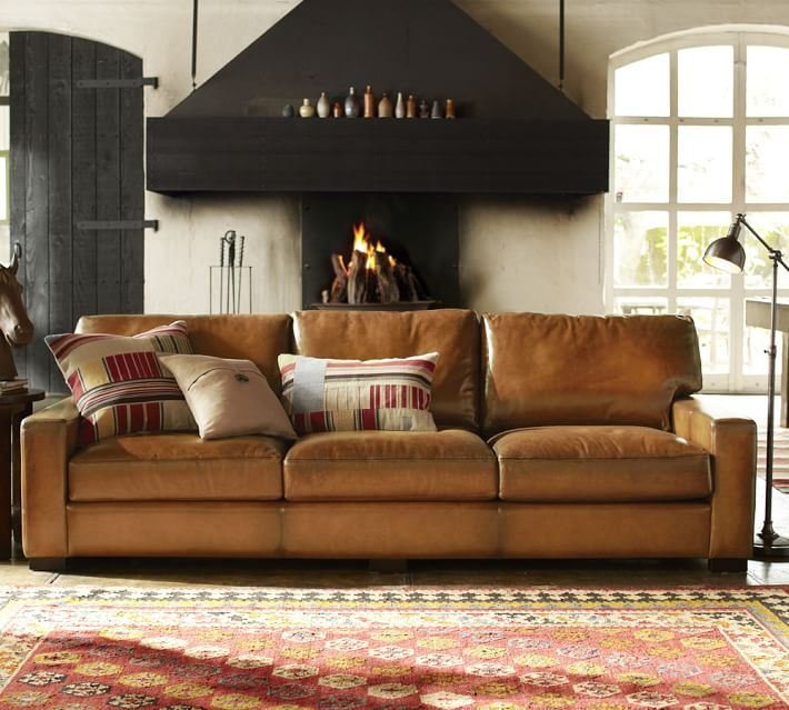 Attractive Turner Leather Square Arm Sofa  Grand Sofa @ Potterybarn X X