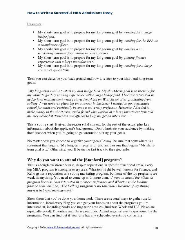 Example Career Goal Essay Fresh 49 Professional For Graduate School Admission Sample Mba Application Essays