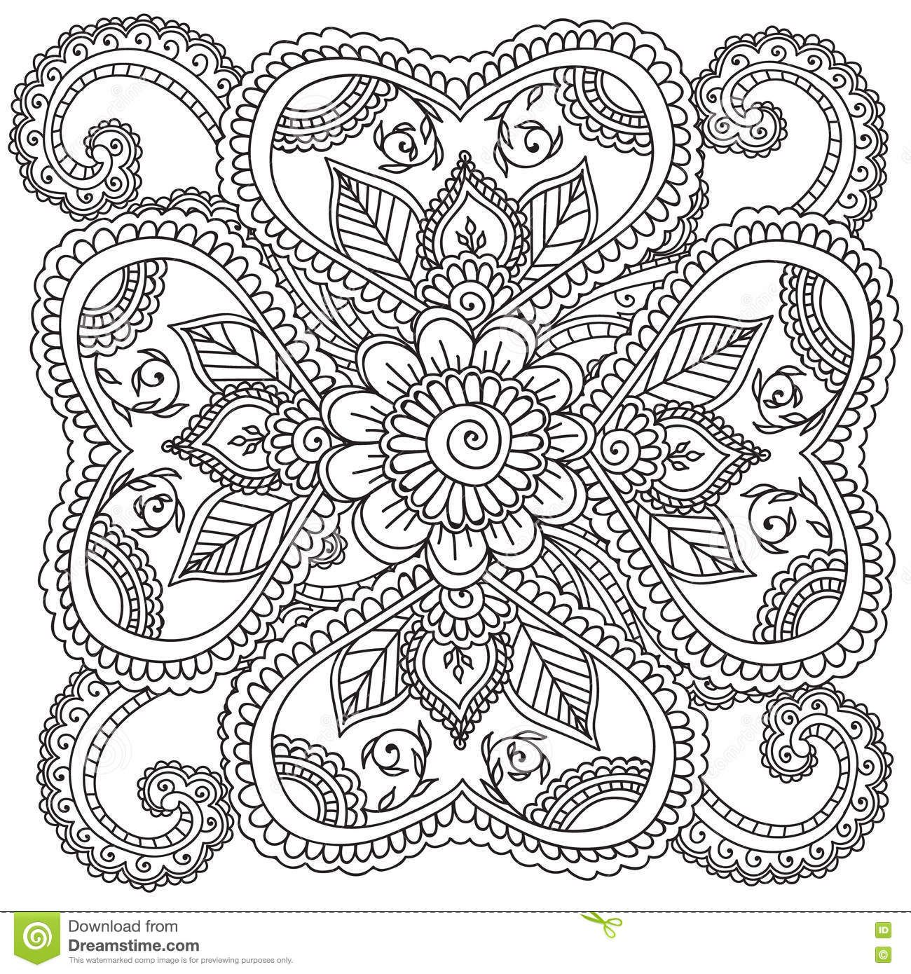 coloring pages for adults henna mehndi doodles vector image on vectorstock - Mehndi Coloring Pages