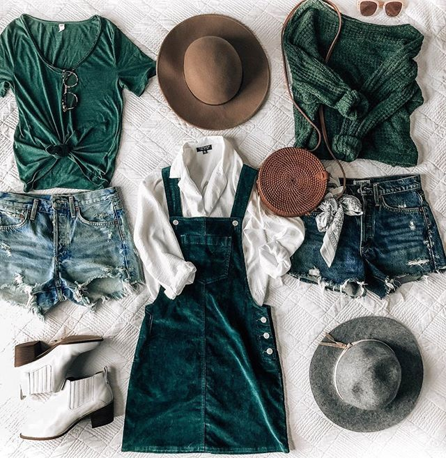fb3ffb41e8 fall outfit ideas, corduroy overall dress, distressed denim shorts, off  shoulder sweater, dark green, emerald, forest green, tan fall hat  @prettyinthepines
