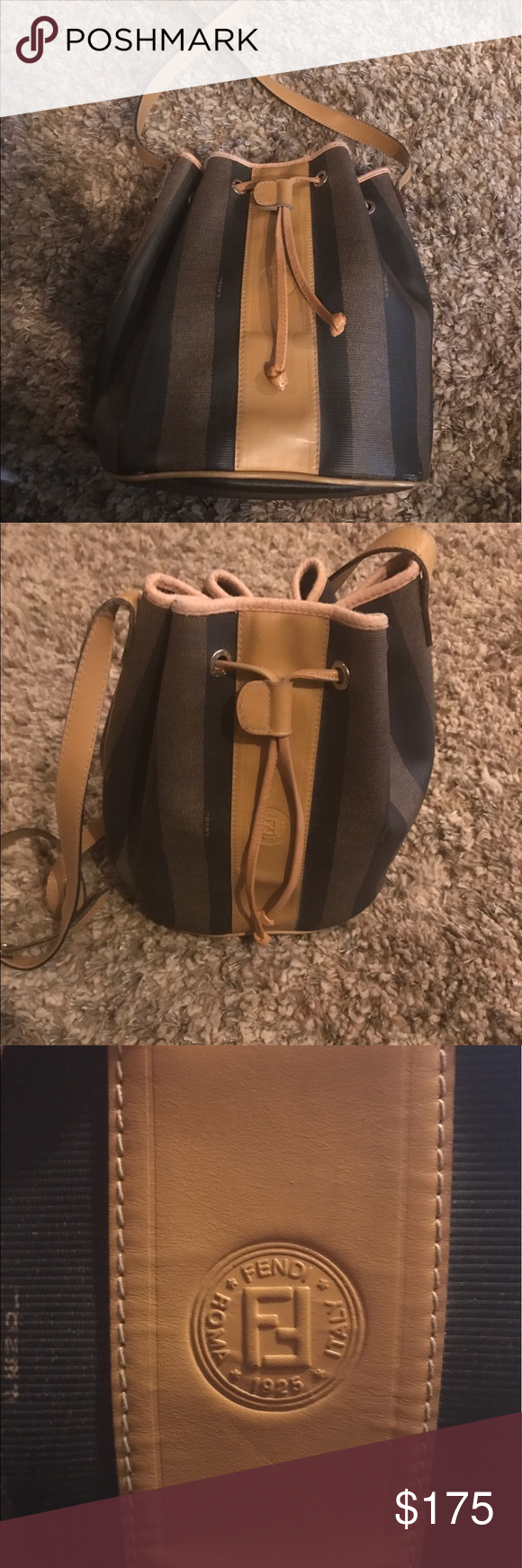 Fendi vintage handbag Vintage Fendi bucket bag with drawstring and strap in  good condition. There 247a001665