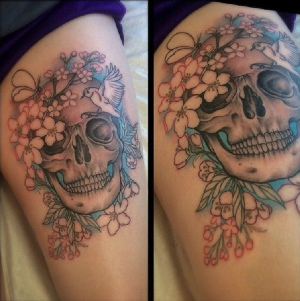 80 Frightening And Meaningful Skull Tattoos Skull Thigh Tattoos Skull Tattoos Tattoos