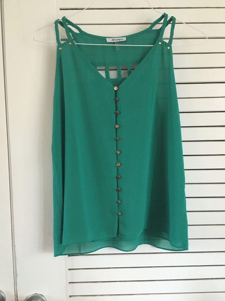 Emerald Green Blouse with Gold Accent Buttons | eBay