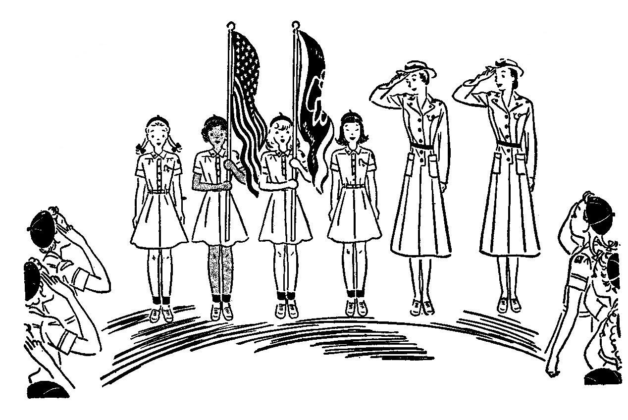 Girl Scout Flag Ceremony Vintage Line Art Rlinthejitterbugdress Girlscout Clipart