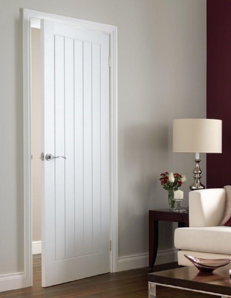 Premdor Internal White Wood Primed Textured Boarded Type Vertical 5 Panel Door & Premdor Internal White Wood Primed Textured Boarded Type Vertical 5 ...