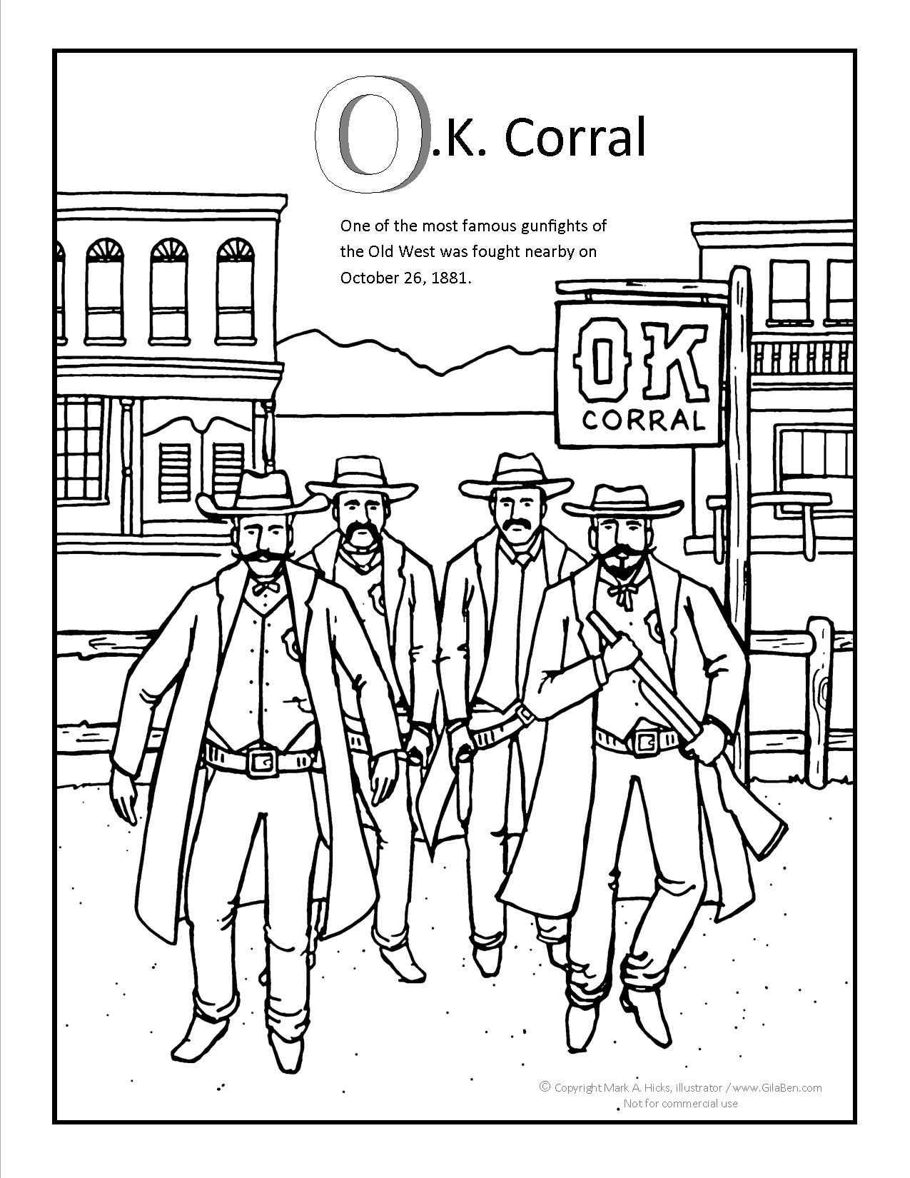 Ok Corral Coloring Page More Fun Arizona Coloring Pages At