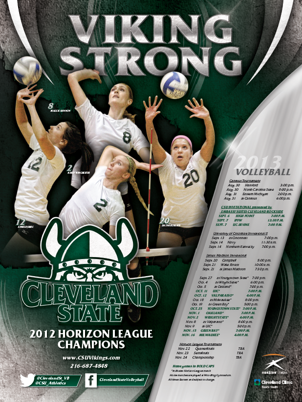 Cleveland State Volleyball Poster 2013 Volleyball Posters Cleveland State Sports Marketing