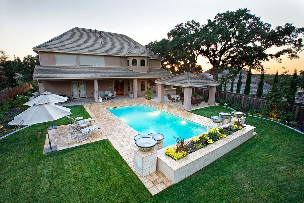 25 Stunning Rectangle Inground Pool Design Ideas With Sun Shelf Pools Backyard Inground Backyard Pool Landscaping Inground Pool Designs