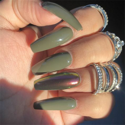 50 The Simple And Unique Acrylic Coffin Nails You Will Love This Summer Nail Art Connect Acrylicnai In 2020 Fall Acrylic Nails Green Nail Designs Cute Acrylic Nails