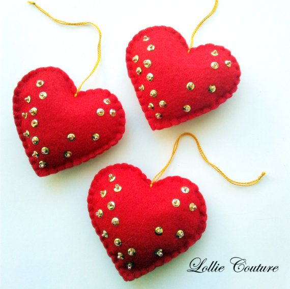 Felt Ornaments Felt Hearts Valentine Ornaments By Lolliecouture
