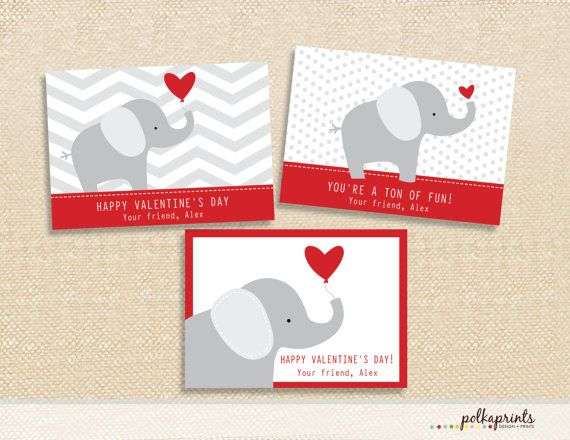 Valentine Printable Cards Elephant by polkaprints on Etsy 499 – Elephant Valentines Card