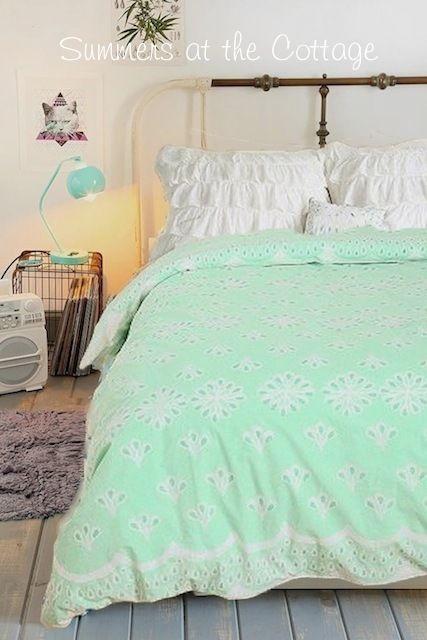 Shabby Mint Green Chic Beach Cottage Flowers Full Queen Duvet Comforter Cover Comforter Cover Bed Linens Luxury Duvet Comforters