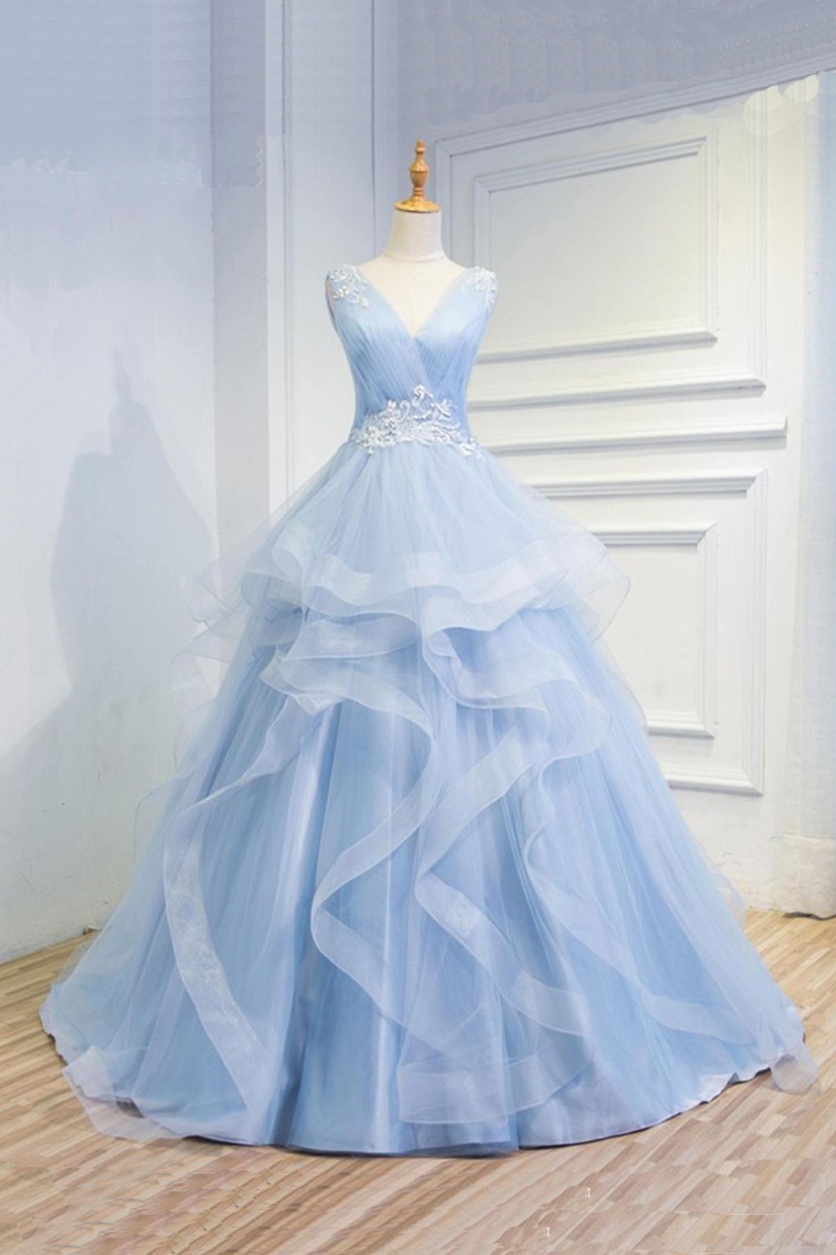 New design baby blue organza prom dress ball gowns wedding dress