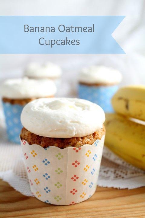 Banana Oatmeal Cupcakes With Whole Grain Oats Chocolate With Grace Recipe Banana Oatmeal Oatmeal Cupcakes Cupcake Recipes