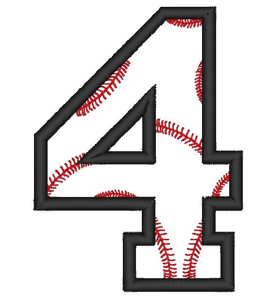 Instant Download Baseball Number 4 Applique by ...