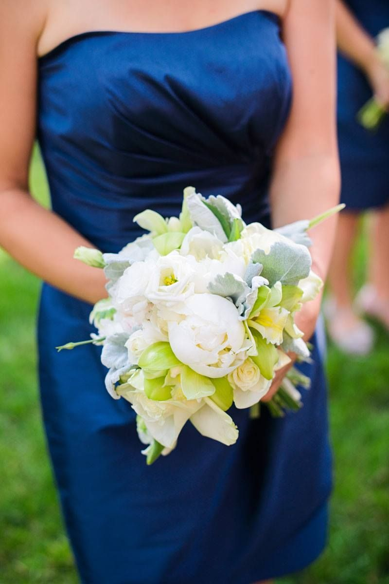 Green and white bridesmaids bouquets. Peonies, dusty miller, lisianthus, roses.   Flowers by Ivie Joy Flowers