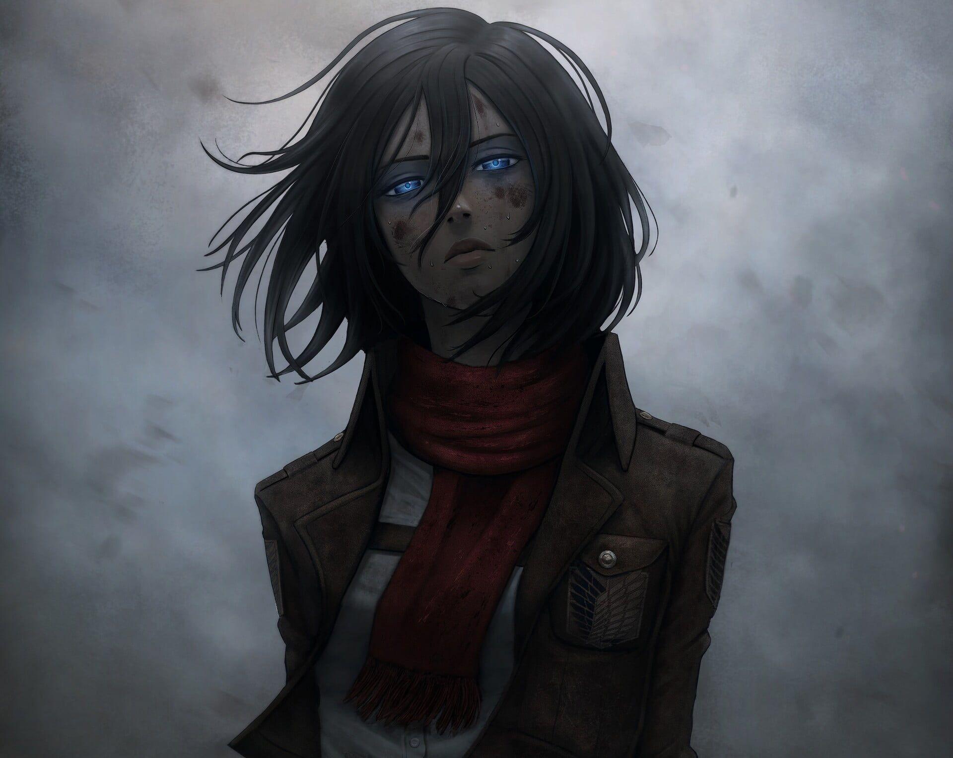 Anime Attack On Titan Attack on Titan Black Hair Blue