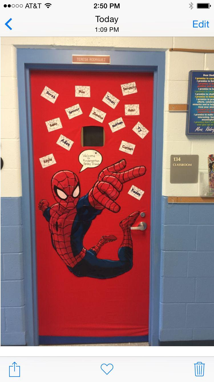 My Spiderman classroom door. Welcome to Kindergarten