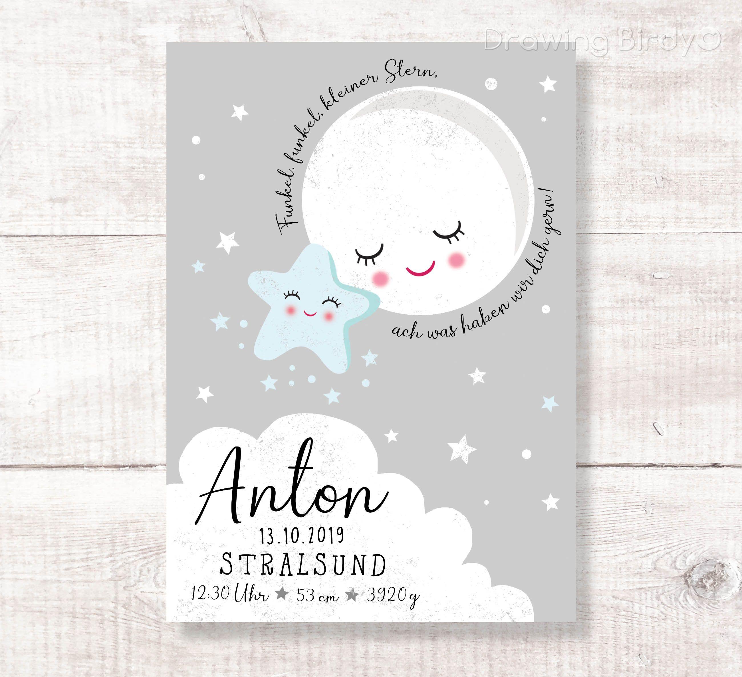 Kleiner Stern Geburtsanzeige Geschenk Zur Geburt Taufe