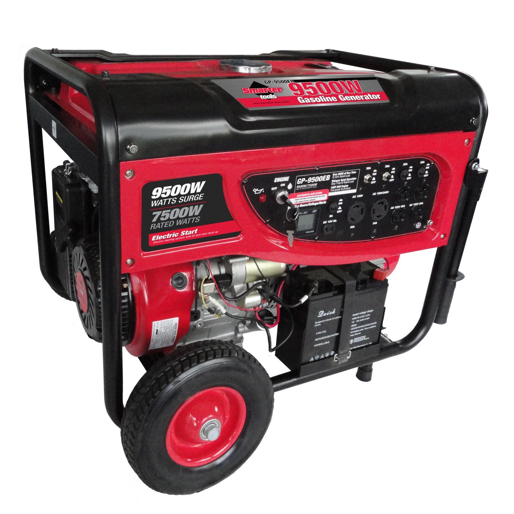 Smarter Tools 9500 watt Portable Generator with Electric Start and